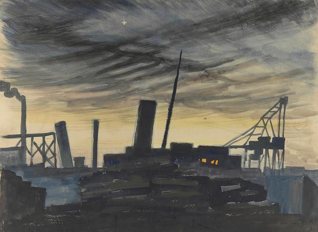 Charles Burchfield (1893-1967) Night Scene at Dock 14 1/4 x 18 7/8in