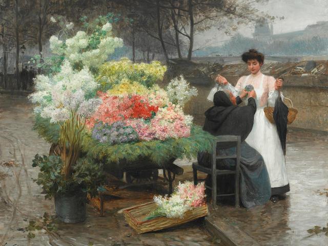 Victor-Gabriel Gilbert (French, 1847-1935) La marchande de fleurs sur les Quais à Paris, circa 1890 29 x 36 1/2in (73.5 x 93cm)