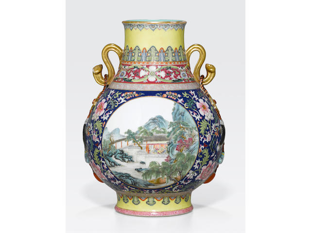 A famille rose enameled vase Republic period