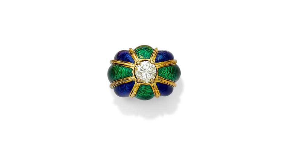 An enamel, diamond and 18k gold dome ring