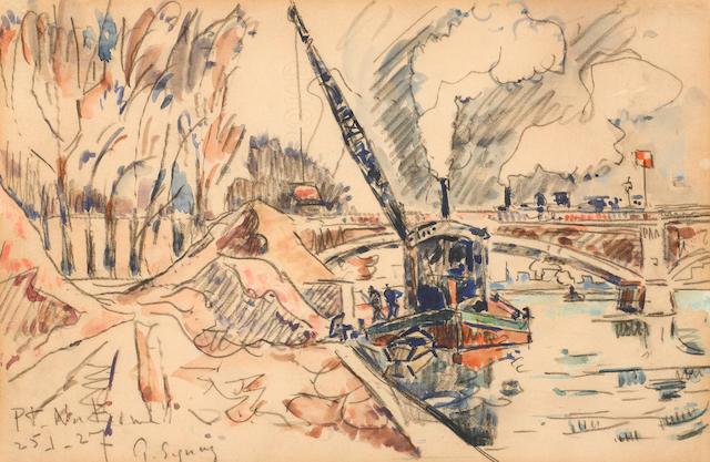 Paul Signac (1863-1935) Pont National, Paris 7 1/2 x 11 3/4 in (19.8 x 29.8 cm)  (Painted on 25 January 1927)