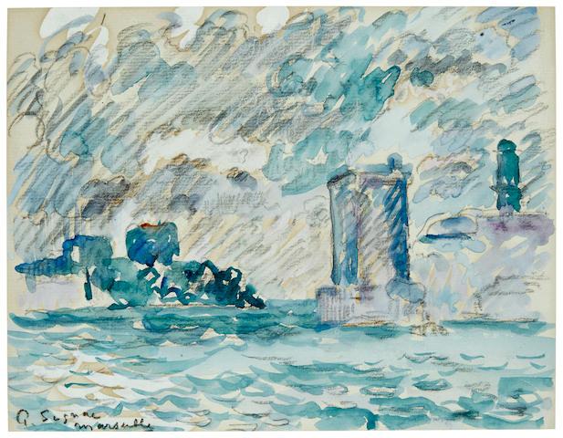 PAUL SIGNAC (1863-1935) Marseille 7 7/8 x 10 in (20 x 25.5 cm)