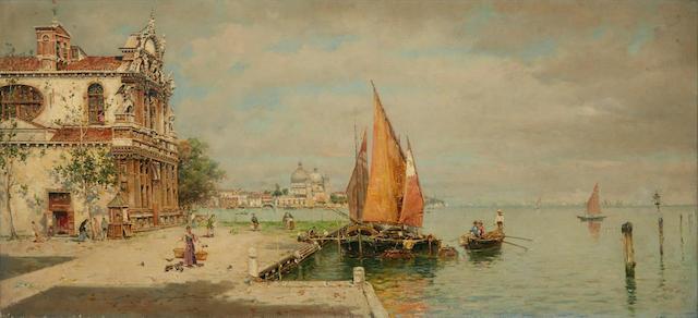 Antonio María de Reyna Manescau (Spanish, 1859-1937) A view of La Giudecca, Venice 13 3/8 x 29 1/8in (34 x 74cm)