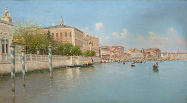 Rafael Senet y Perez (Spanish, 1856-1926) A view of the Grand Canal 13 1/2 x 24in (34.5 x 61cm)