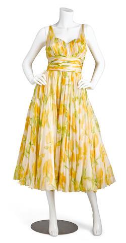 Bonhams : A Maureen O'Hara yellow floral cocktail dress worn