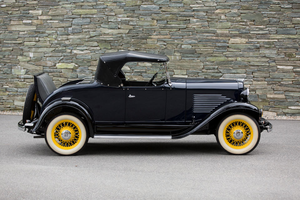 <i>Sold to benefit the Heritage Museums and Gardens</i><BR /><B>1932  Willys  6-90 Silver Streak Rumble Seat Roadster</B><BR />Chassis no. 8610<BR />Engine no. 8714