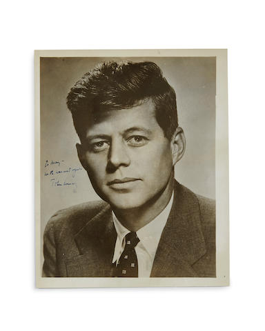 "Kennedy, John Fitzgerald. Photograph Signed (""John F. Kennedy"") and Inscribed, 8 x 10 inch gelatin silver print, of Senator Kennedy"