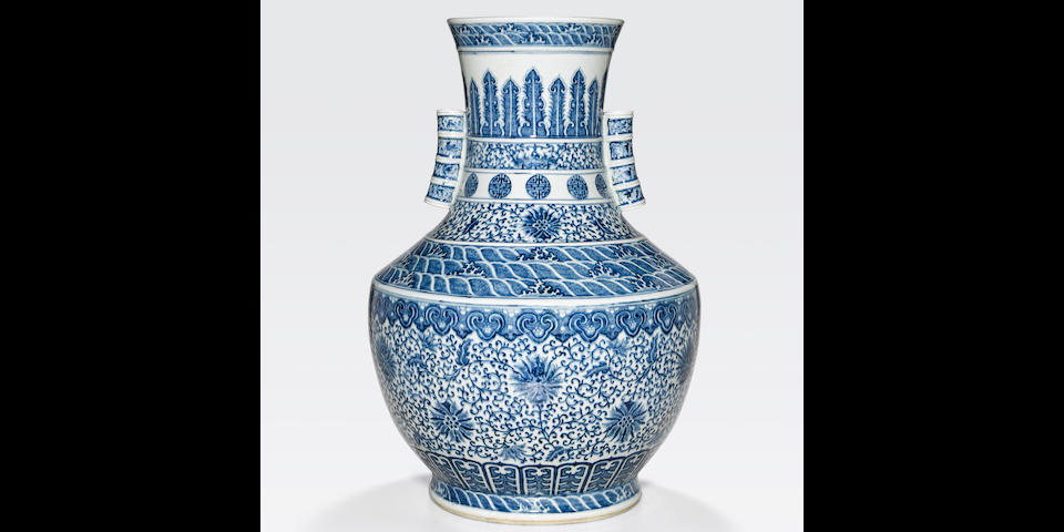 A blue and white vase Qianlong mark, late Qing/Republic period