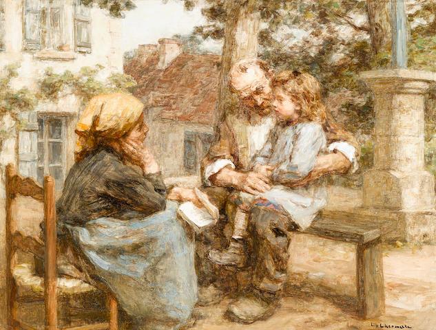 Léon Augustin Lhermitte (French, 1844-1925) La première leçon 17 1/2 x 22 3/4in (44.4 x 57.8cm)