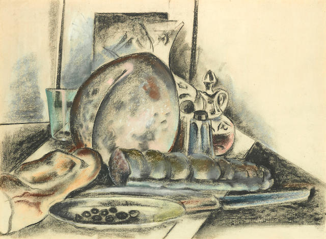 Preston Dickinson (1891-1930) Still Life with Condiments (The Provolone Cheese) 18 3/4 x 24 3/4in (Executed circa 1925.)