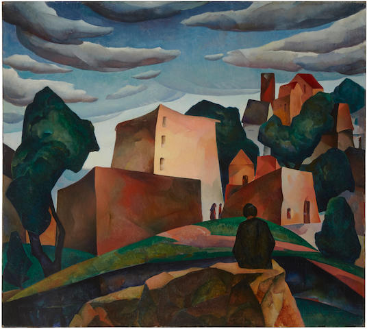 William Samuel Schwartz (1896-1977) Outskirts of a city 36 x 40 1/8 in (91.5 x 101.7 cm)  (Painted in 1927)