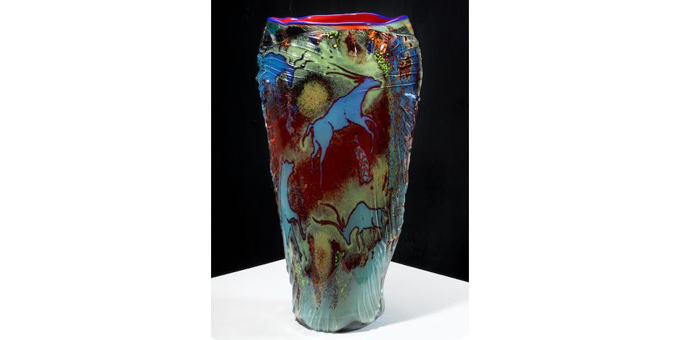 William Morris (born 1957) Petroglyphblown glasssigned William Morris 1984height 23 1/4in (59cm)