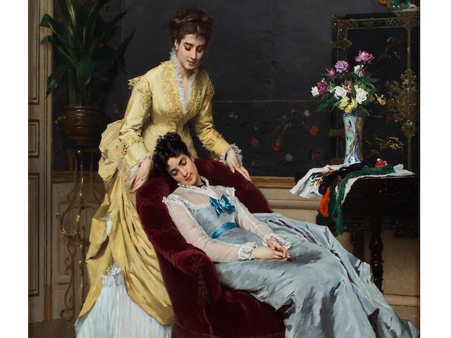 Gustave Léonhard de Jonghe (Belgian, 1829-1893) Sweet dreams 28 3/4 x 21.5in (73.2 x 54.5cm)