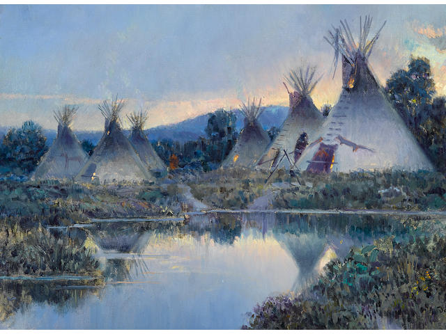 Joseph de Yong (1894-1975) Encampment at twilight 14 x 21in overall: 21 x 28in (Painted in 1923)