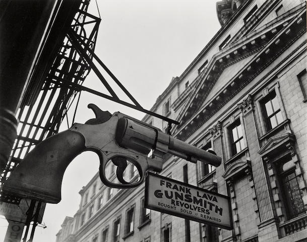 Berenice Abbott (1898-1991); Gunsmith and Police Department, 6 Centre Market Place, Manhattan;