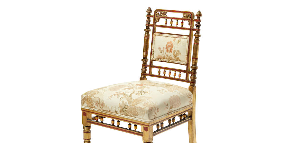 A fine American parcel paint decorated giltwood and marquetry inlaid side chair Executed by Herter Brothers, New York, most likely commissioned for the Mark Hopkins residence, San Francisco circa 1878