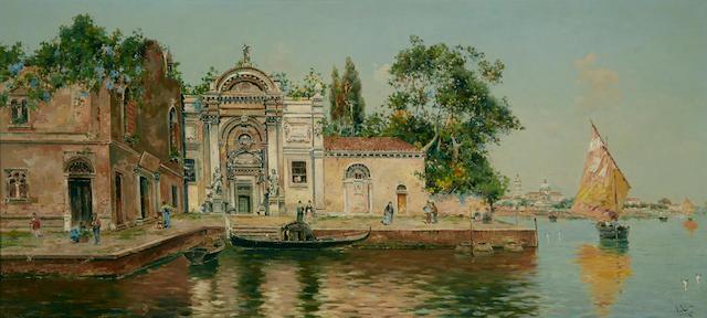Antonio María de Reyna Manescau (Spanish, 1859-1937) A quiet Venetian canal 13 3/4 x 29 1/2in (35 x 75cm)
