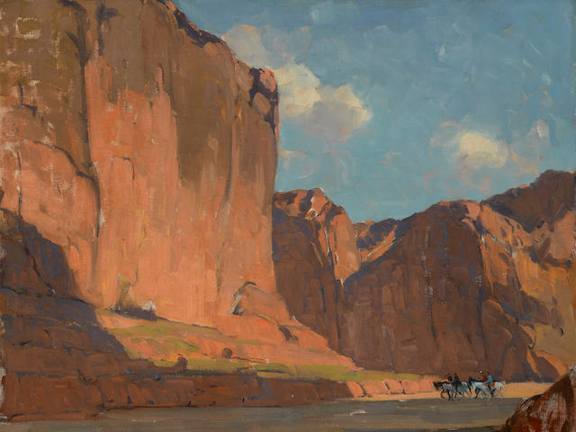 Edgar Payne (1883-1947) Riders passing through the canyon 28 x 34in overall: 35 1/2 x 41 1/2in