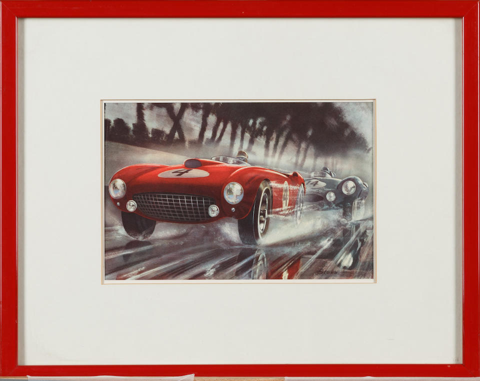A collection of Ferrari artwork and posters