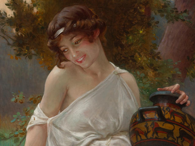 Guillaume Seignac (French, 1870-1924) A la fontaine 31 3/4 x 22 1/2in (80.5 x 57cm)