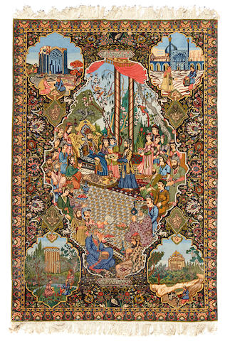 A pictorial Tabriz rug Northwest Persia dimensions approximately 5ft 9in x 13ft 5in (175 x 161cm)