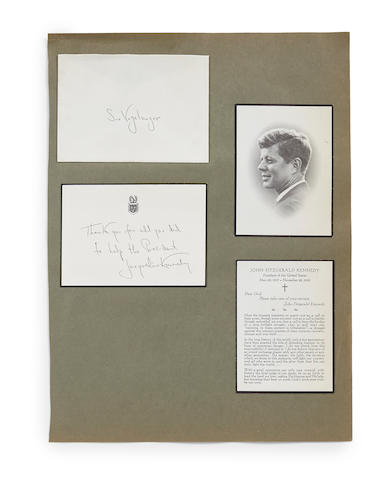"KENNEDY, JACQUELINE BOUVIER. Autograph Mourning Note, Signed (""Jacqueline Kennedy""), 1 p, 3 3/4 x 5 1/2 inches, [Washington, DC], November 25, 1963, with the original addressed envelope and two of the memorial prayer cards of the late President John Fitzgerald Kennedy, issued at his funeral,"