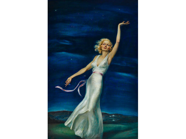Pilides Tino Costa (American, 1891-1947) Farewell to Earth (Portrait of Jean Harlow) Painted in 1937