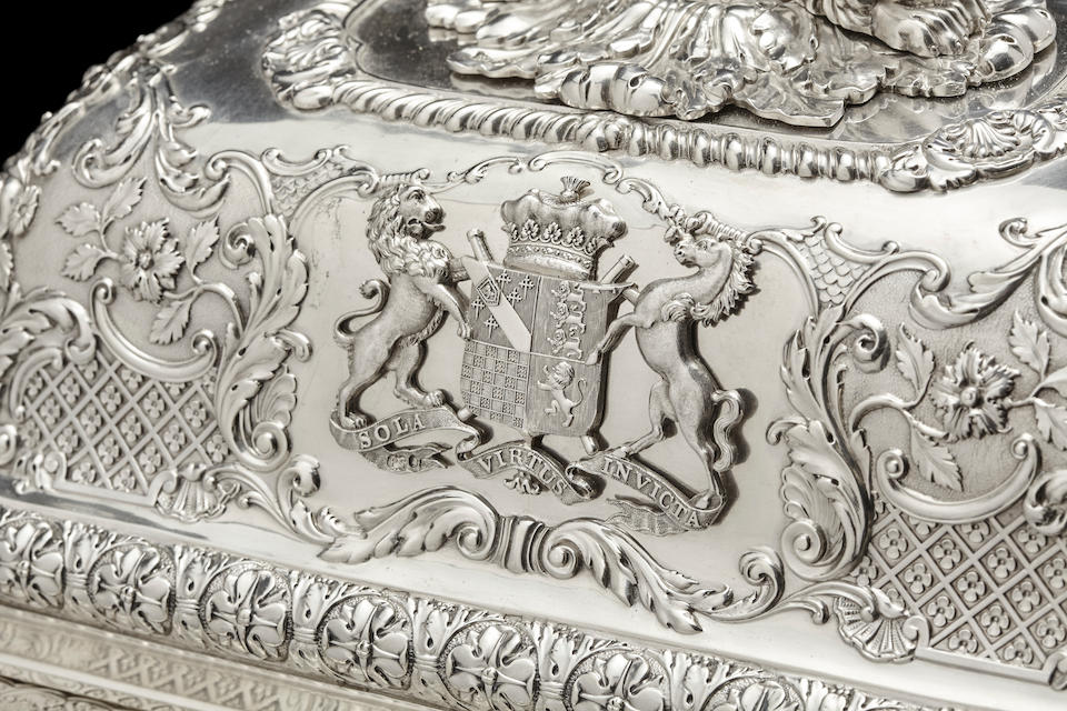 A pair of Important Regency sterling silver covered entrée dishes on Sheffield plated stands from the Duke of Norfolk Service the covers and dishes by Paul Storr, London, 1816-17; stands marked for Matthew Boulton, Birmingham