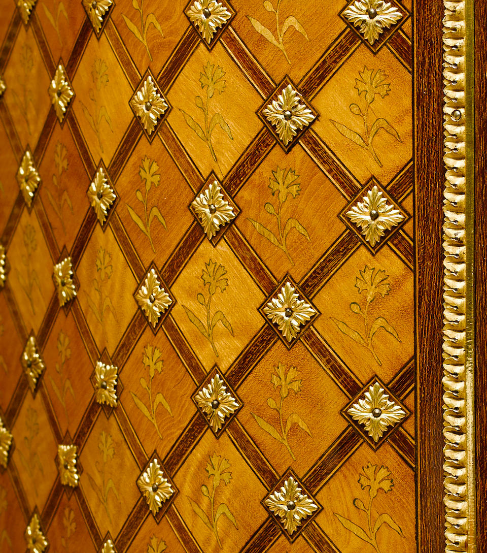 A fine French gilt bronze mounted Vernis Martin inlaid kingwood and satinwood cabinet Alfred-Emmanuel Beurdeley late 19th century