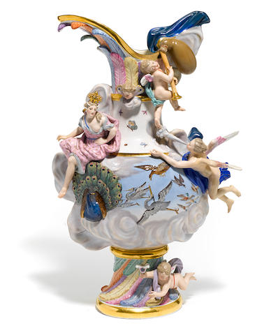 A Meissen porcelain ewer emblematic of air late 19th century