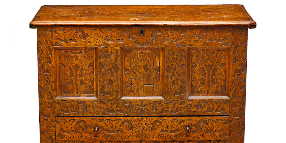 "The extraordinary Hovey-Wadsworth Family joined oak and pine ""Hadley"" chest with single drawer Massachusetts early 18th century"