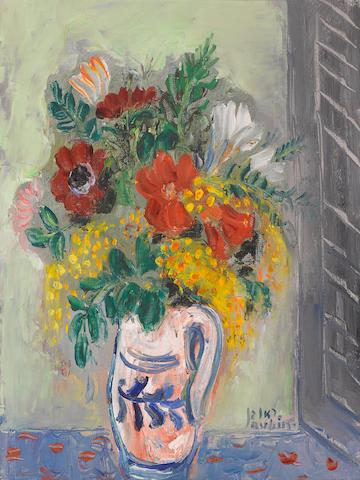 REUVEN RUBIN (1893-1974) Mimosa et Anemones 16 x 11 1/2 in (40.6 x 29.2 cm)