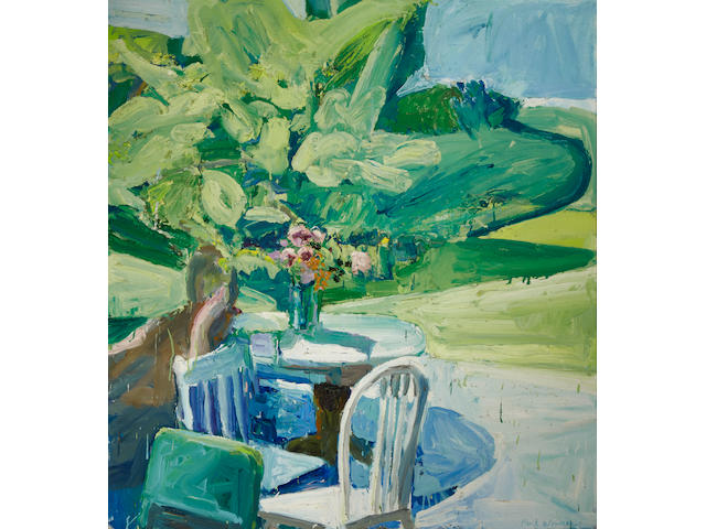 Paul Wonner (1920-2008) Figure by Terrace Table in Spring, 1960 49 1/2 x 46 5/8 in. (125.7 x 118.4 cm)