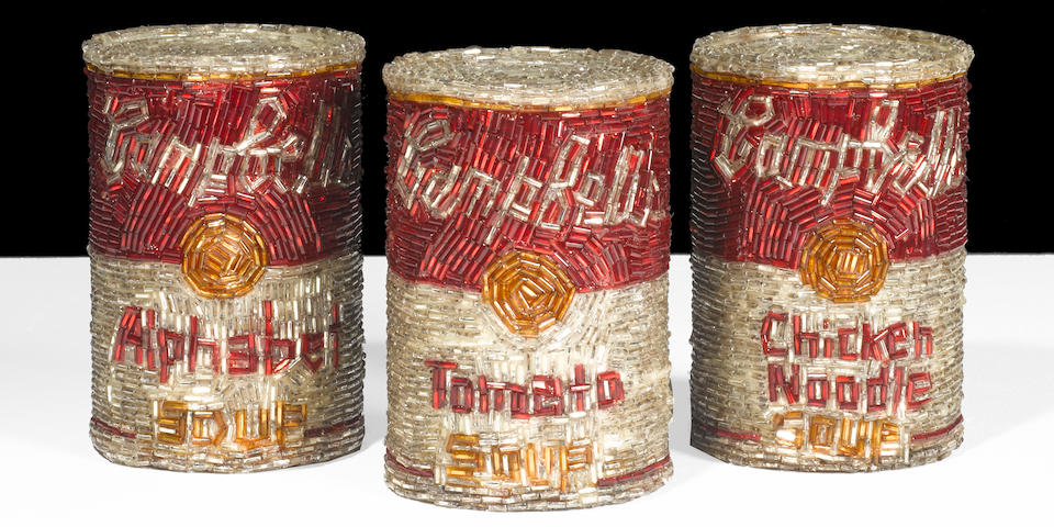 Liza Lou (born 1969) Campbell's Soup: Tomato, 1992, Alphabet, 1992, Chicken Noodle, 1992 (3) each 4 1/8 x 2 5/8 x 2 5/8 in. (10.5 x 6.7 x 6.7 cm)  (A complete set of three unique works from an edition of ten (from a total of thirty).)