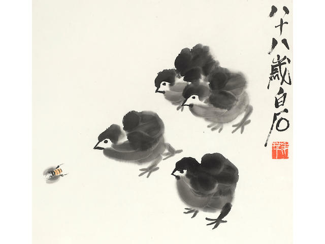 Qi Baishi (1864-1957) Chicks Chasing a Bee