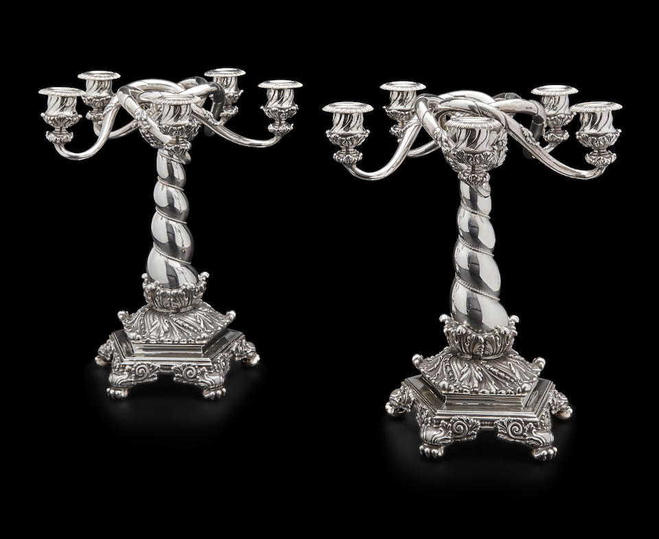 A pair of American  sterling silver five-light candelabra by Tiffany & Co., New York, NY, 1873-1891