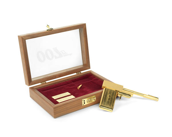 "A replica of the Golden Gun presented to Sir Christopher Lee for his role as ""Scaramanga"" in The Man with the Golden Gun"