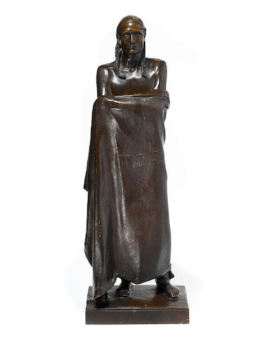 Alexander Stirling Calder (1870-1945) An American Stoic (Portrait of Najinyankte) 28 x 9 1/2 x 6 1/4in Executed in 1912