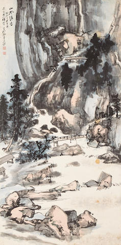 Zhang Daqian (1899-1983)  River Landscape with Two Bridges, 1963