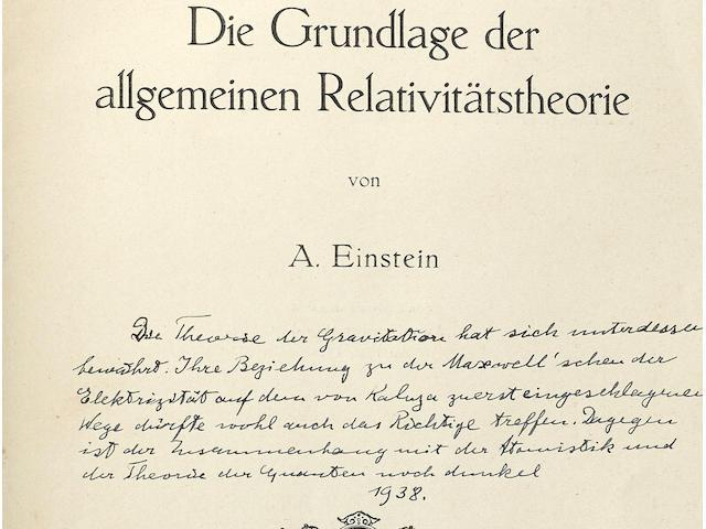 EINSTEIN, ALBERT. 1879-1955. Die Grundlage der allgemeinen Relativitätstheorie. Leipzig: Johann Ambrosius Barth, 1916.