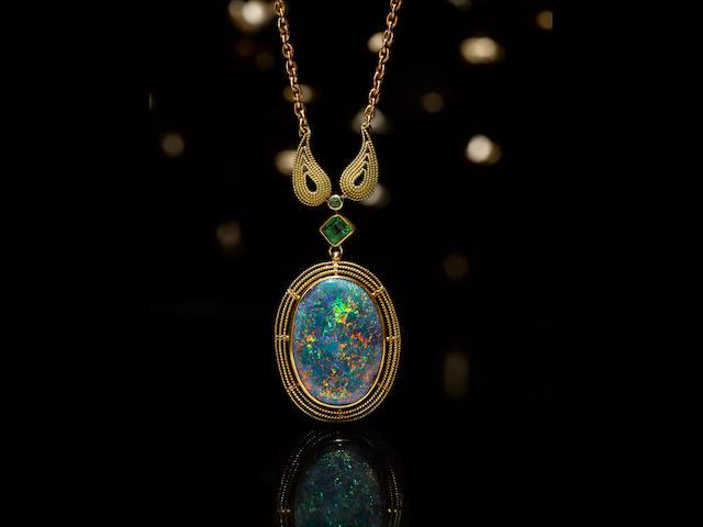 An antique opal, demantoid garnet and gold pendant,  Tiffany & Co.,