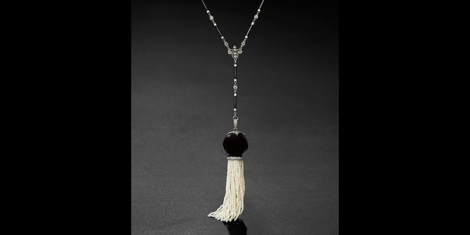 An Art Deco enamel, diamond, seed pearl, onyx, platinum and gold sautoir necklace,