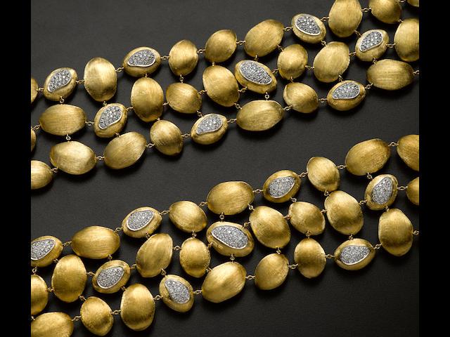 A pair of diamond and 18k gold bean bracelets, Marco Bicego, Italian