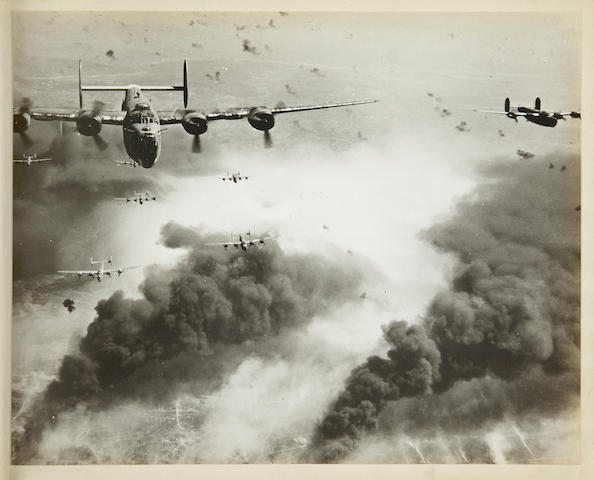 WORLD WAR II: BOMBARDMENT OF JAPAN. 1. Target—Japan. Top Secret. Album of 28 mounted black-and-white aerial photographs, 11 3/4 x 14 3/4 inches, 1945,