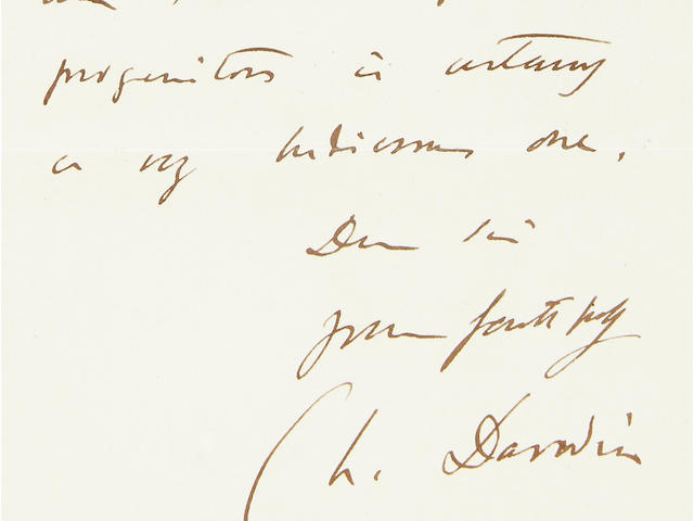 "DARWIN, CHARLES. 1809-1882. Autograph Letter Signed (""Ch. Darwin""), 1 p, 8vo (conjoined blank),"