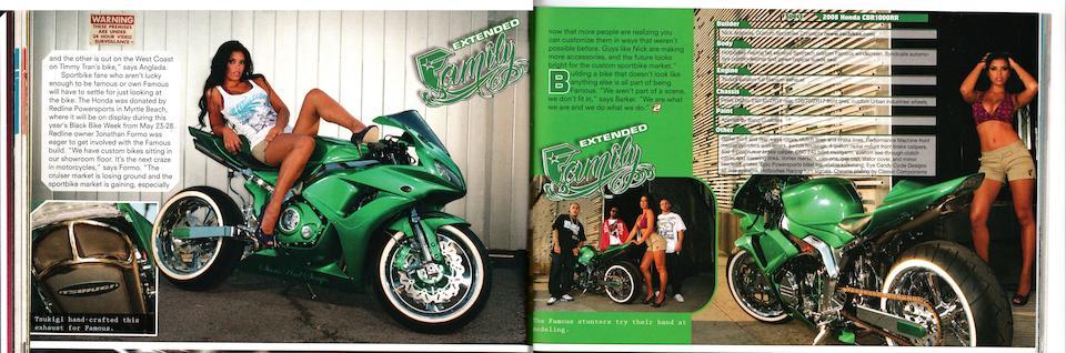 <i>Ex-Travis Barker of Blink 182</i><br /><b>2007 HONDA CBR1000RR CUSTOM</b><br />Frame no. JH2SC57007M300604 Engine no. SC57E-2302101