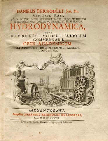 BERNOULLI, DANIEL. 1700-1782. Hydrodynamica, sive De viribus et motibus fluidorum commentarii. Strasbourg: Johann Heinrich Decker for Johann Reinhold Dulsecker, 1738.