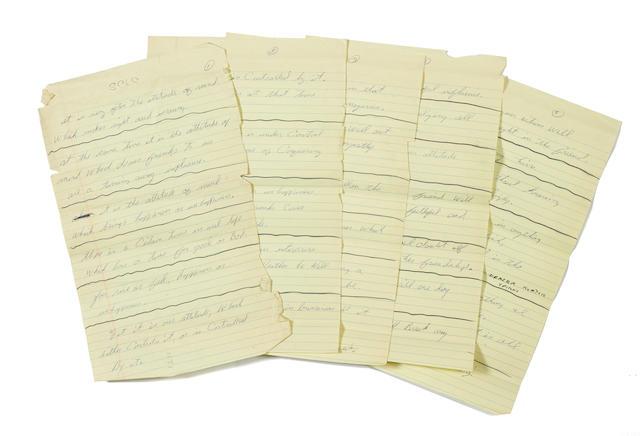 ALI, MUHAMMAD. 1942-2016.  Autograph Manuscript, 26 pp, legal folio, n.p., circa mid-1960s,