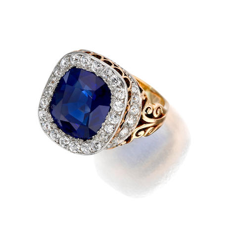 A sapphire and diamond ring, Shreve & Co.,