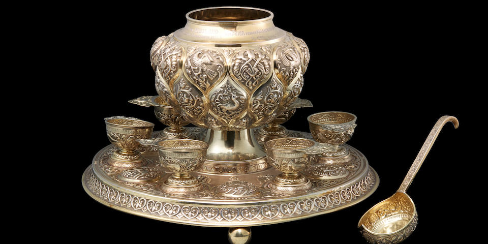 An important presentation silver-gilt punch set Pavel Ovchinnikov, Moscow, 1889